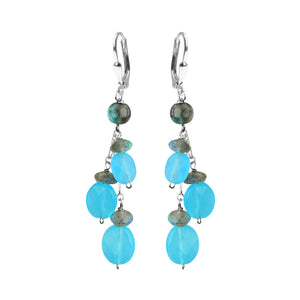 Luxurious Blue Jade and Labradorite Happy Earrings