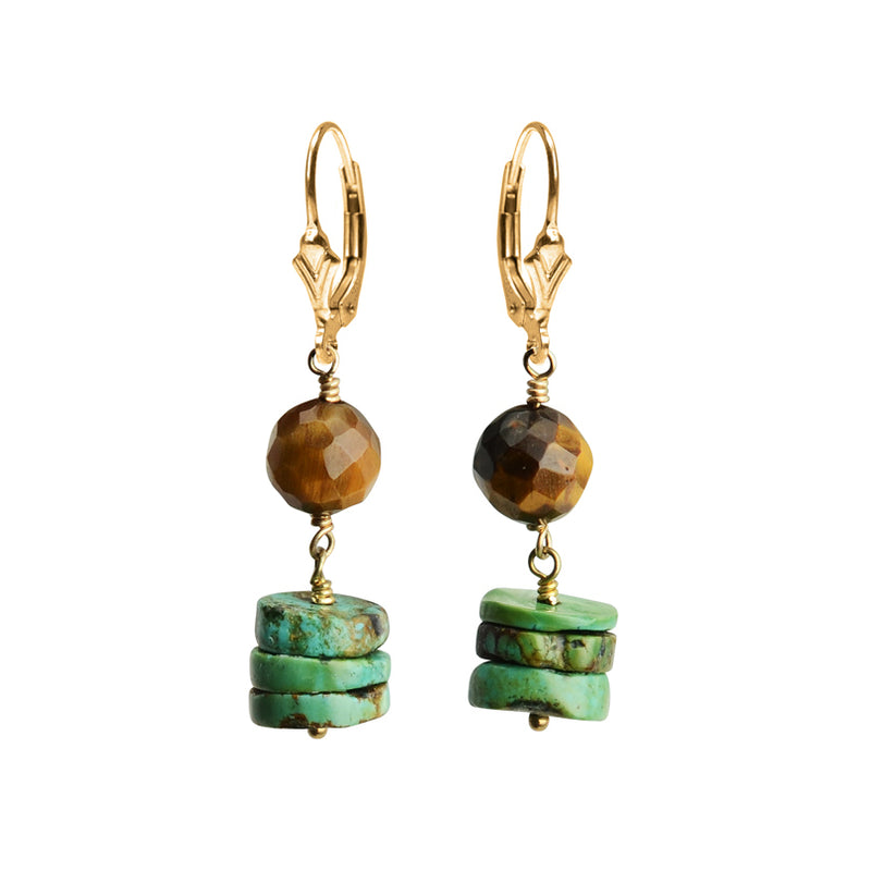 So Cute Tiger's Eye & Turquoise Earrings with Gold Filled Lever Back Hooks