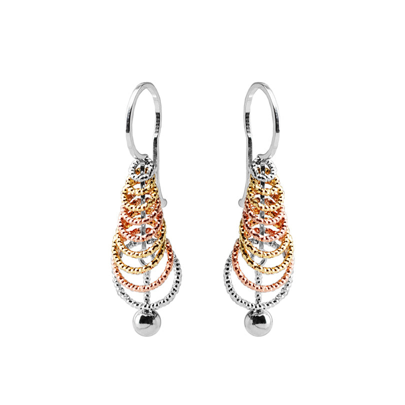 Petite Italian 18kt Tri-Color Plated Silver Diamond Cut Earrings