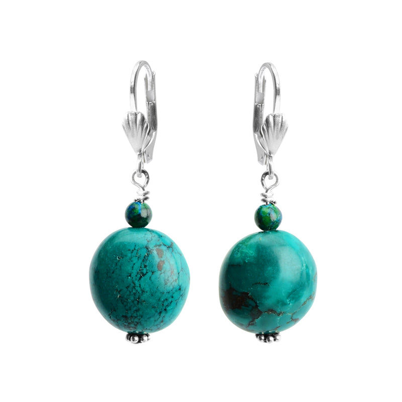 Beautiful Rich Colors of Genuine Turquoise Sterling Silver Earrings