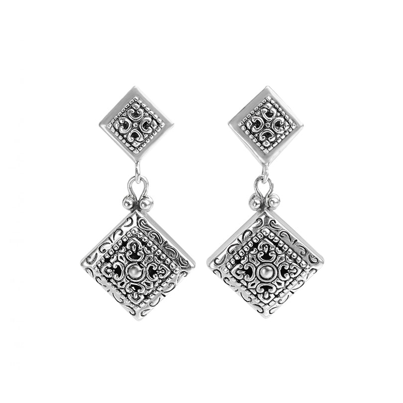 Gorgeous 2-Tier Bali Filigree Sterling Silver Earrings