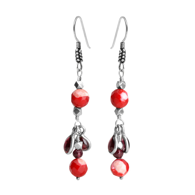 Darling Garnet Teardrops & Red Mother of Pearl Sterling Silver Earrings