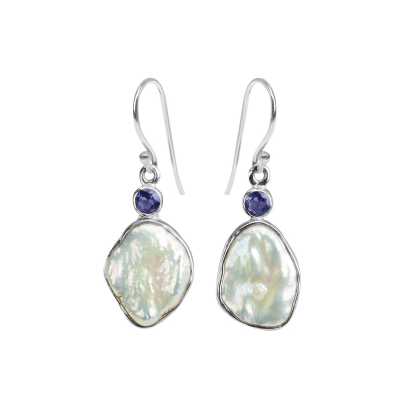 Shimmering Fresh Water Pearl and Iolite Sterling Silver Earrings