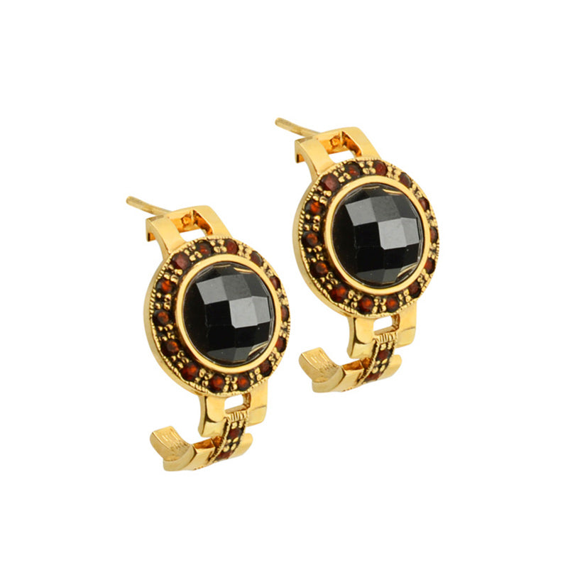 Faceted Black Onyx With Garnet Gold Plated Hoop Style Earrings