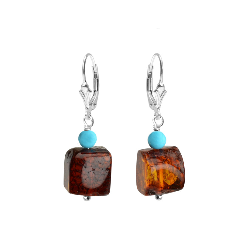 Dark Cognac Baltic Amber With Sleeping Beauty Turquoise Sterling Silver Earrings