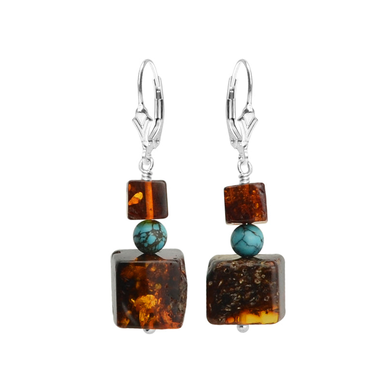Lush, Dark Cognac Baltic Amber and Sleeping Beauty Turquoise Sterling Silver Earrings