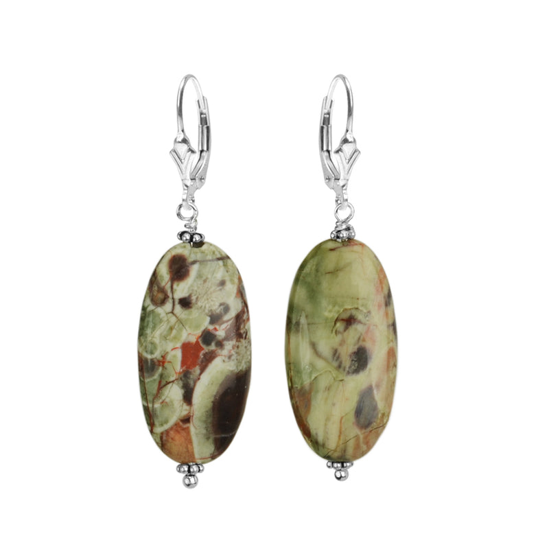 Amazing Colors of Genuine Jasper Sterling Silver Earrings