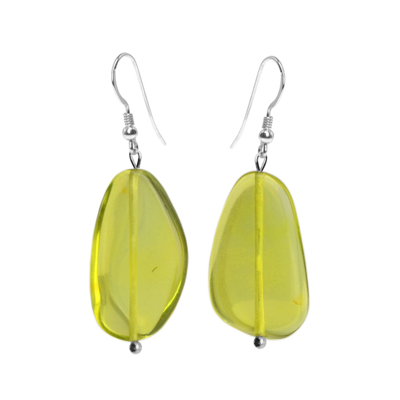 Caribbean Green Amber Earrings