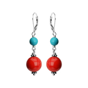 Elegant Coral and Magnesite Turquoise Sterling Silver Earrings