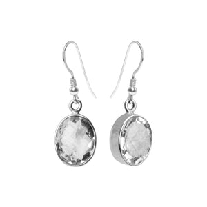 Faceted Quartz Sterling Silver Earrings