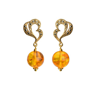 Glamorous Cognac Baltic Amber and Shimmering Marcasite Gold Plated Earrings