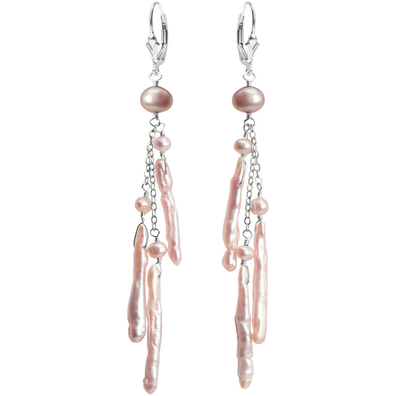 Soft Pink or White Fresh Water Pearl Sterling Silver Earrings
