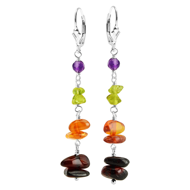 Flirty Baltic Amber, Peridot and Amethyst Sterling Silver Earrings