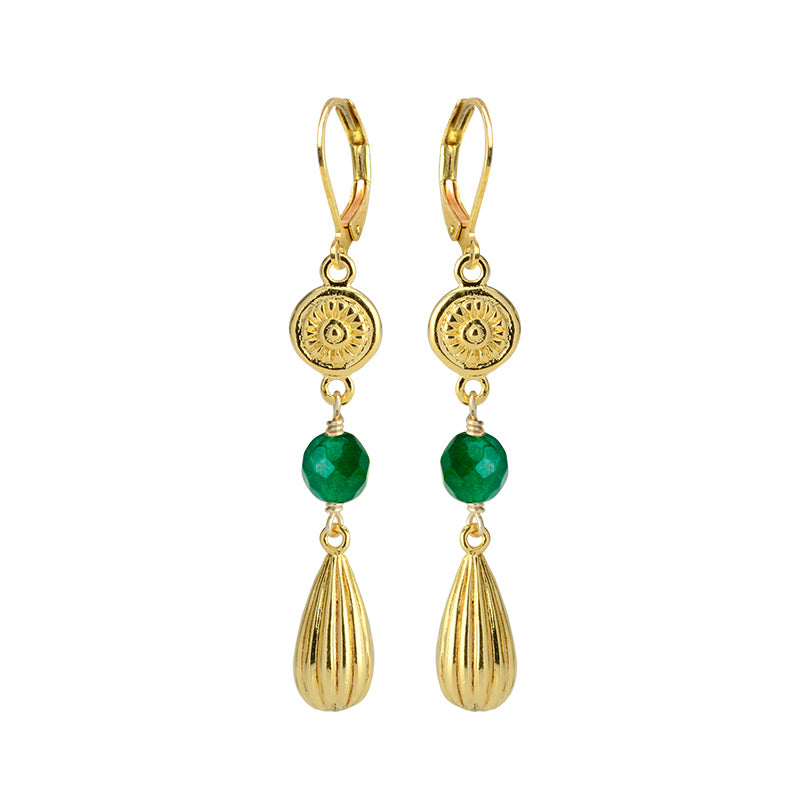 Gorgeous Emerald-Green Color Faceted Agate with Gold Plated Accents Earrings