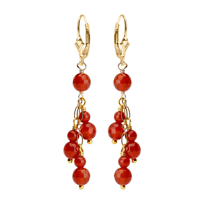 Faceted Carnelian Balls with Gold Filled Lever-Back Hook Earrings