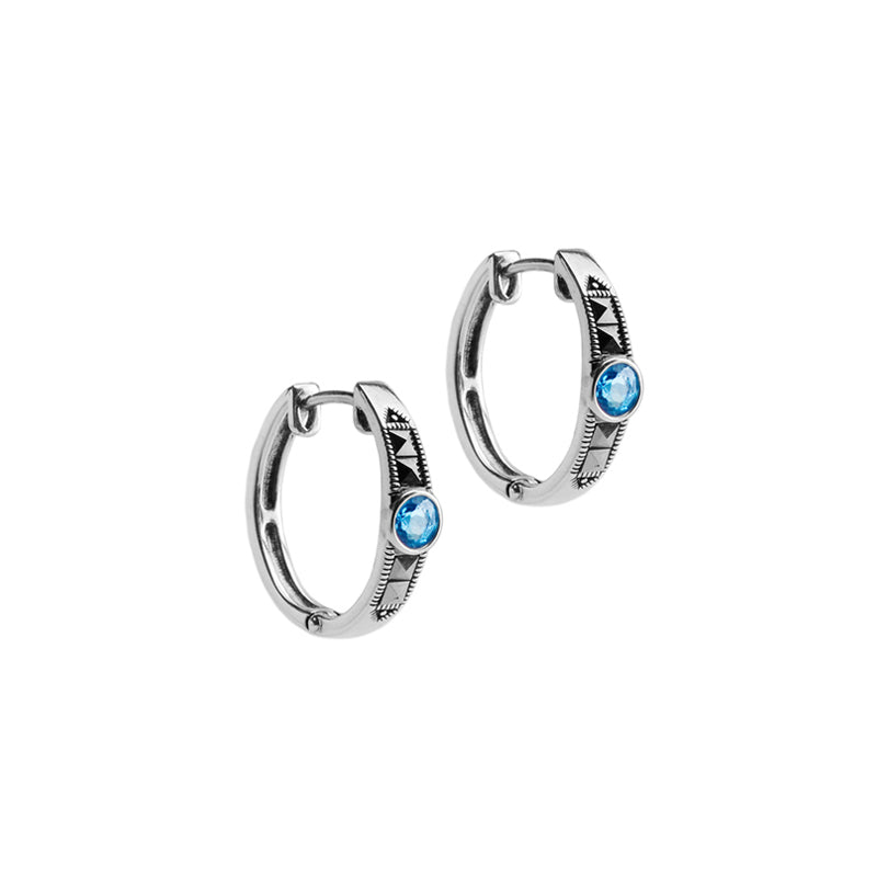 Unique Blue Topaz and Marcasite Sterling Silver Hoop Earrings