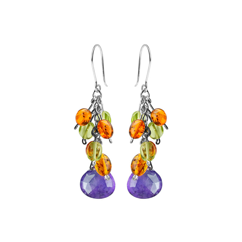 Polish Designer Cognac Baltic Amber, Amethyst and Peridot Sterling Silver Earrings