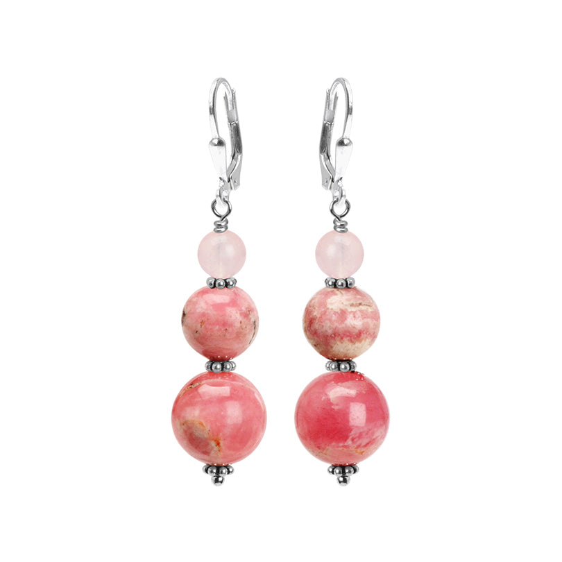 Delicious Rose Rhodochrosite and Rose Quartz Sterling Silver Earrings