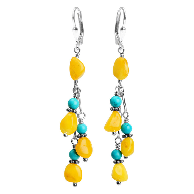 Sunny Yellow Butterscotch Baltic Amber and Bright Sleeping Beauty Turquoise Sterling Silver Earrings
