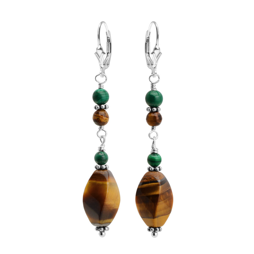 Striking Tiger's Eye and Malachite Sterling Silver Earrings
