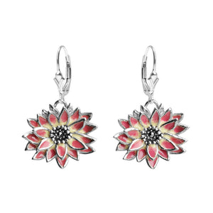 Enamel and Marcasite Sterling Silver Earrings