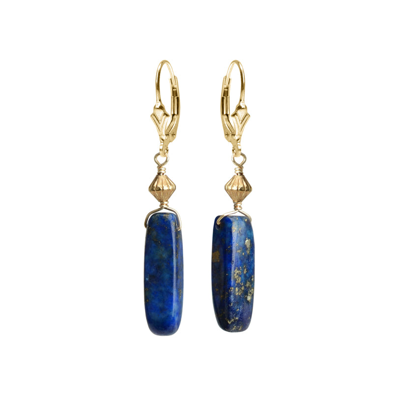 Lovely Lapis Gold Filled Drop Earrings