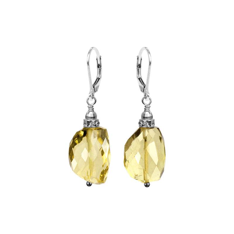 Gorgeous Sparkling Faceted Lemon Quartz With Crystal Accent Sterling Silver Statement Earrings
