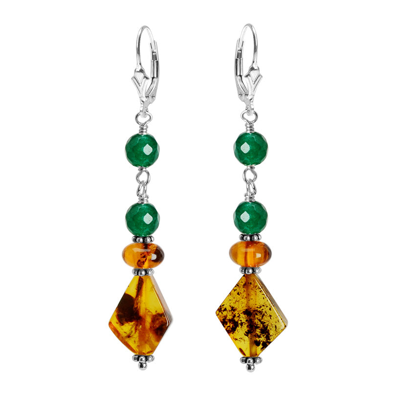 Luxurious Color Combination Of Golden Baltic Amber With Emerald Green Agate Accent Sterling Silver Earrings