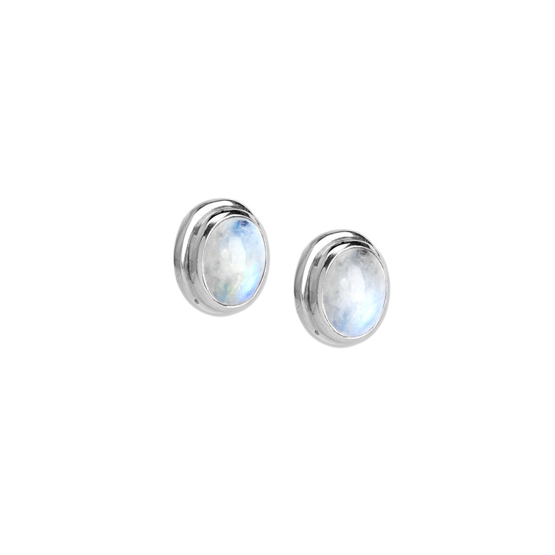 Gorgeous, Shimmering Rainbow Moonstone Sterling Silver Stud Earrings