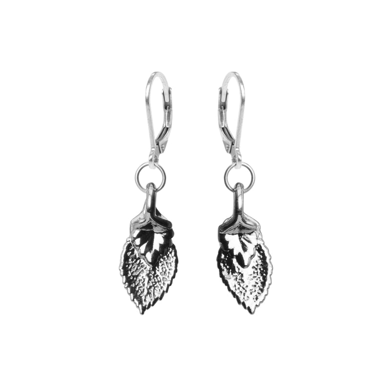Petite Platinum Plated Real Leaf Earrings