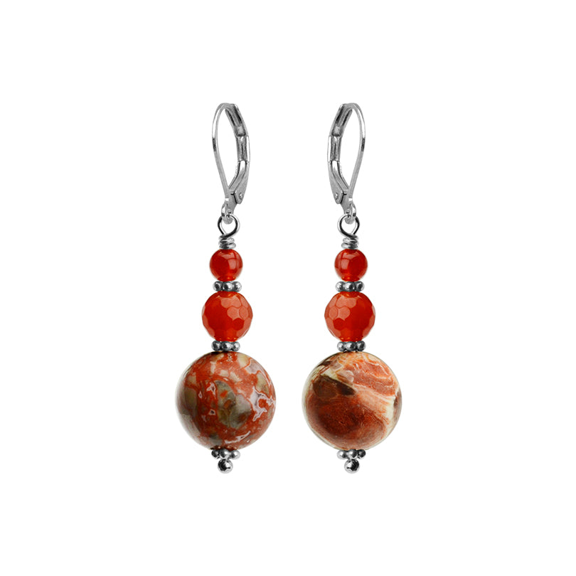 Gorgeous Carnelian & Jasper Sterling Silver Earrings