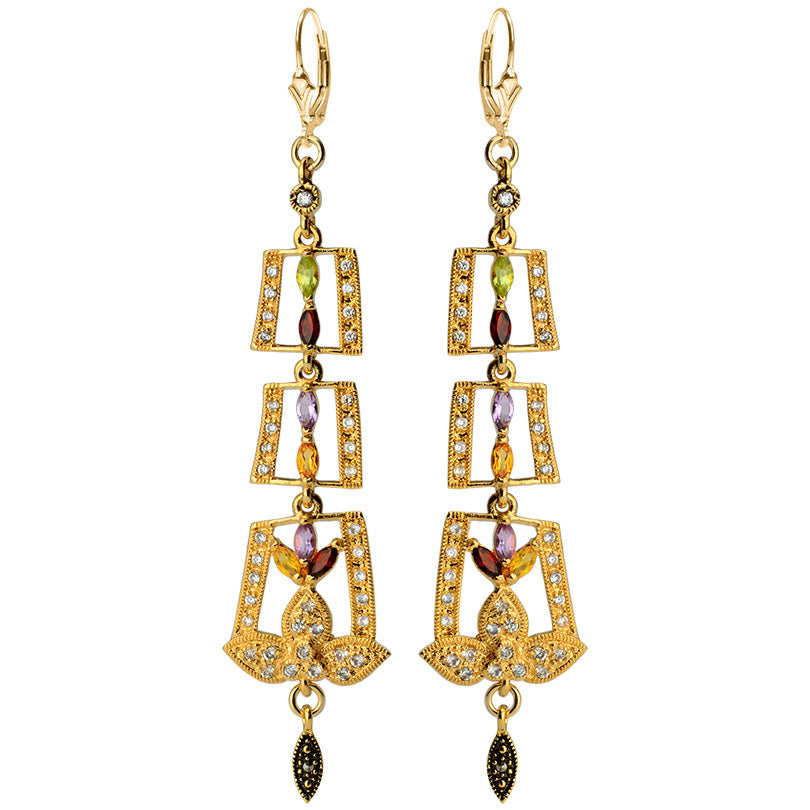 Gorgeous Art Deco Sparkling Gemstones with Crystal Gold Filled Lever Back Earrings