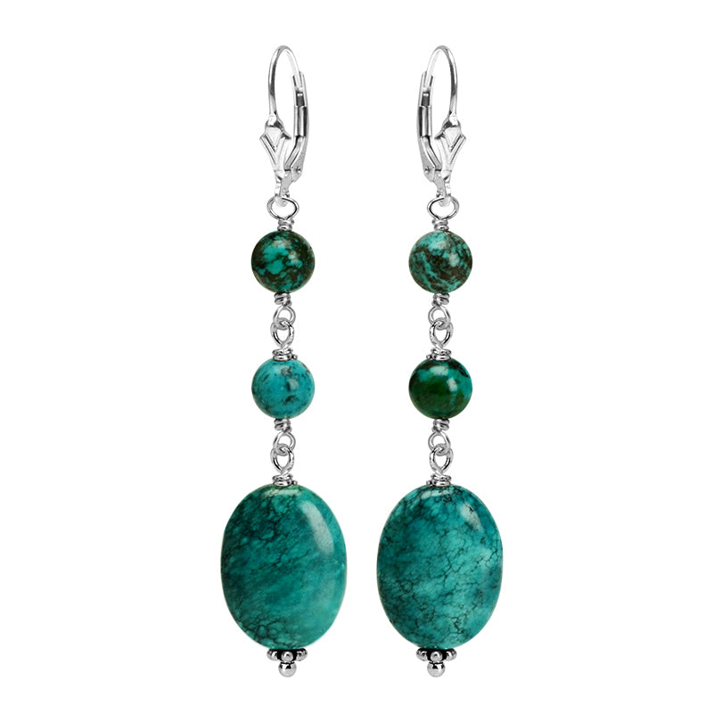 Beautiful Natural Turquoise Sterling Silver Earrings