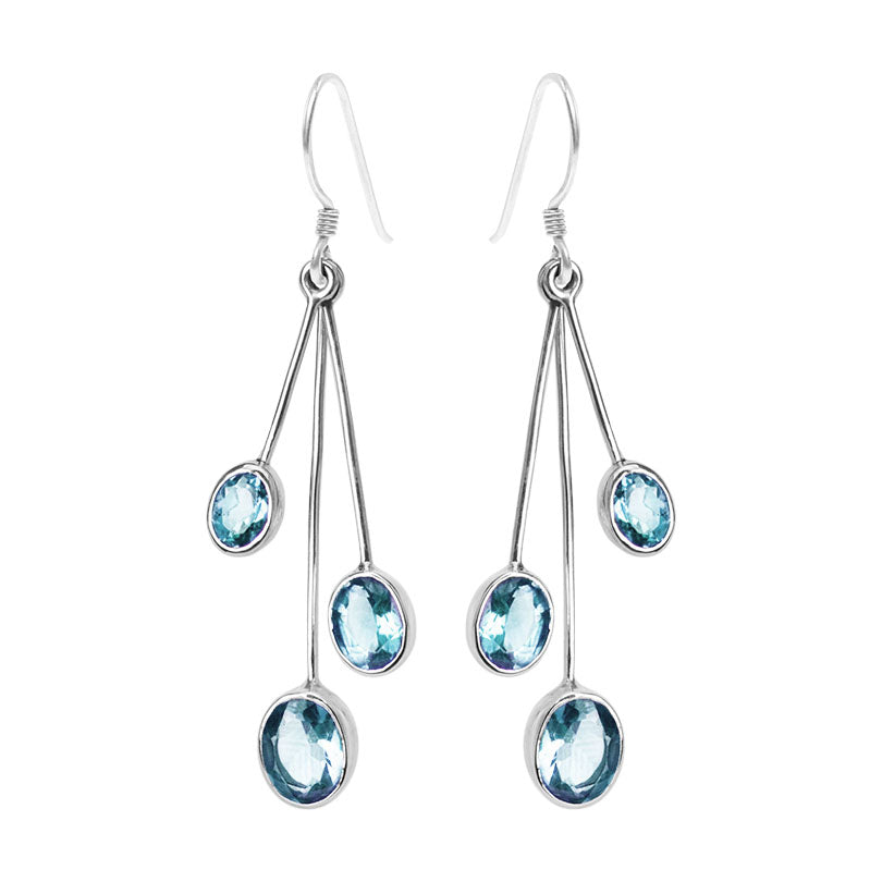 Shimmering Glacier Blue Topaz Sterling Silver Earrings