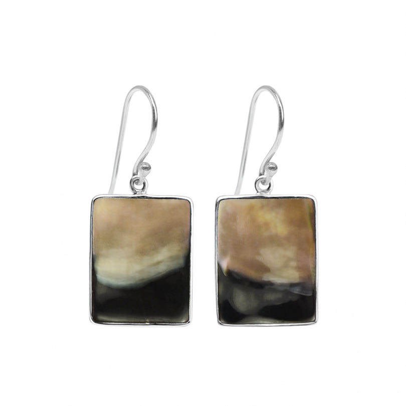 Lustrous Black Lip Shell Sterling Silver Earrings