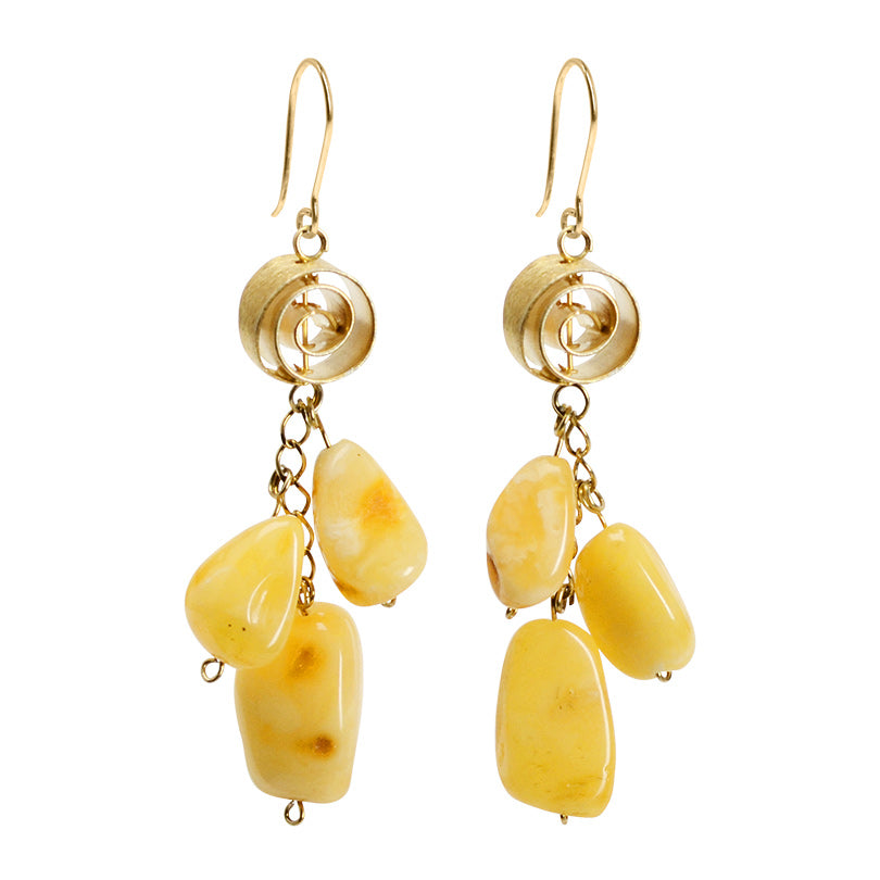 Golden Yellow Butterscotch Amber Earrings With Flirty Gold Plated Silver Spiral Accent.