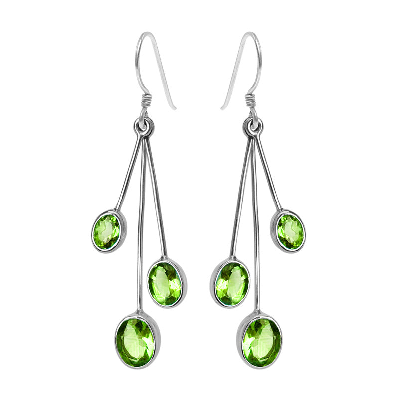 Shimmering Rain Forest Green Peridot Sterling Silver Earrings