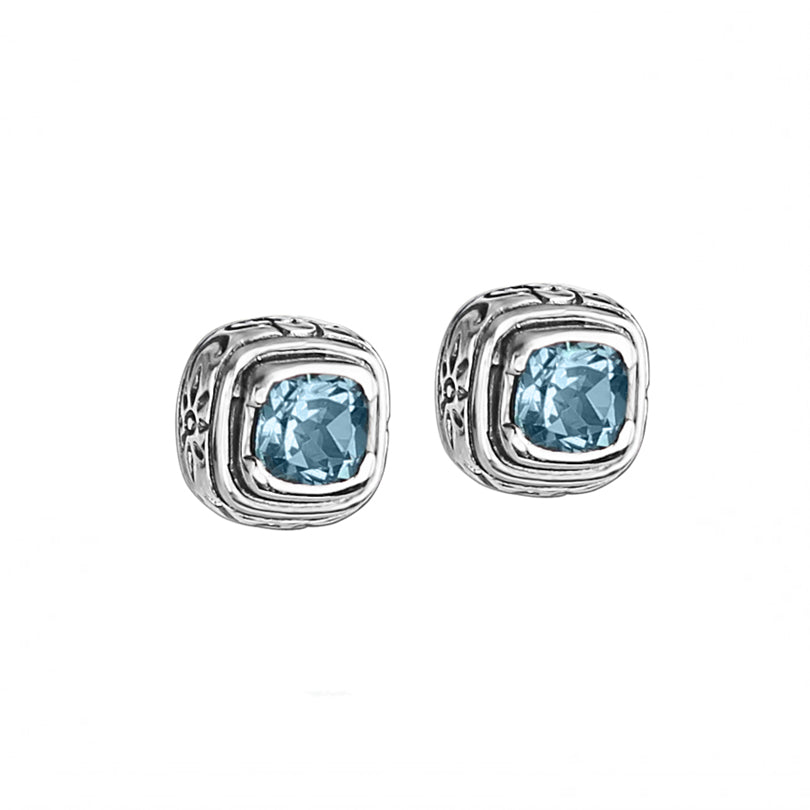 Beautiful Sky Blue Topaz Balinese Design Sterling Silver Stud Earrings