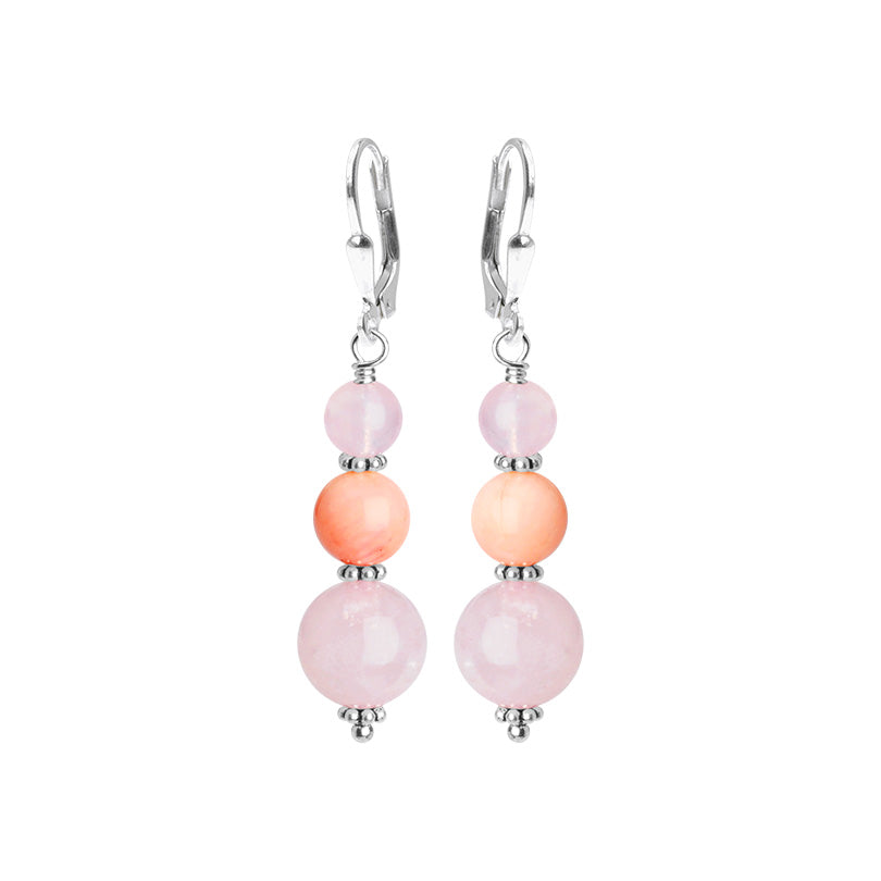 Lovely Fairy Tale Pink Rose Quartz and Pink Opal Sterling Silver Earrings