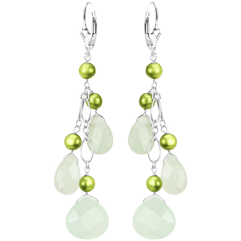 Gorgeous Mint Green Chalcedony and Fresh Water Pearl Sterling Silver Earrings