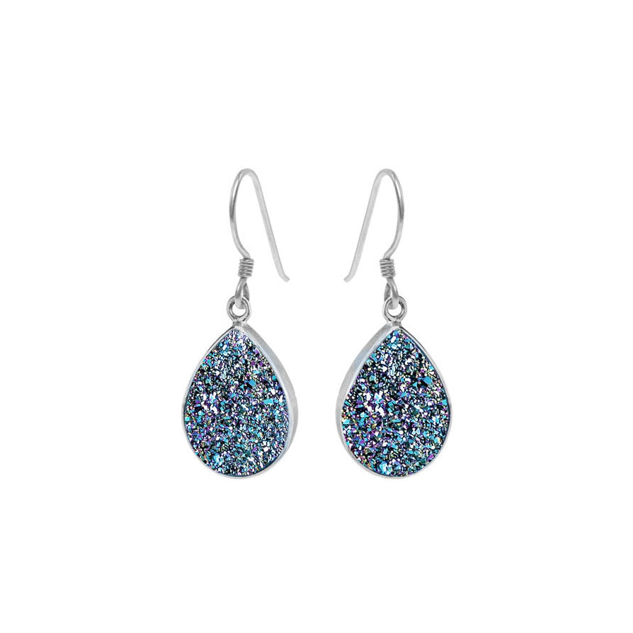 Sparkling Titanium Peacock Blue Drusy Sterling Silver Earrings