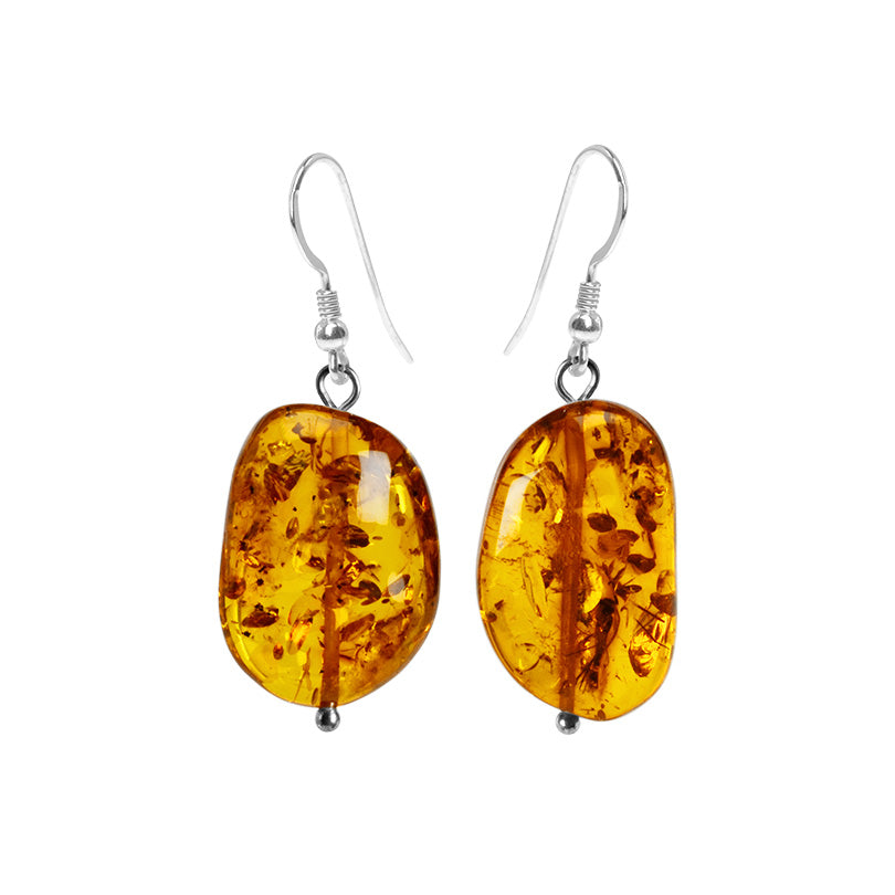 Lovely Honey Cognac Baltic Amber Sterling Silver Earrings
