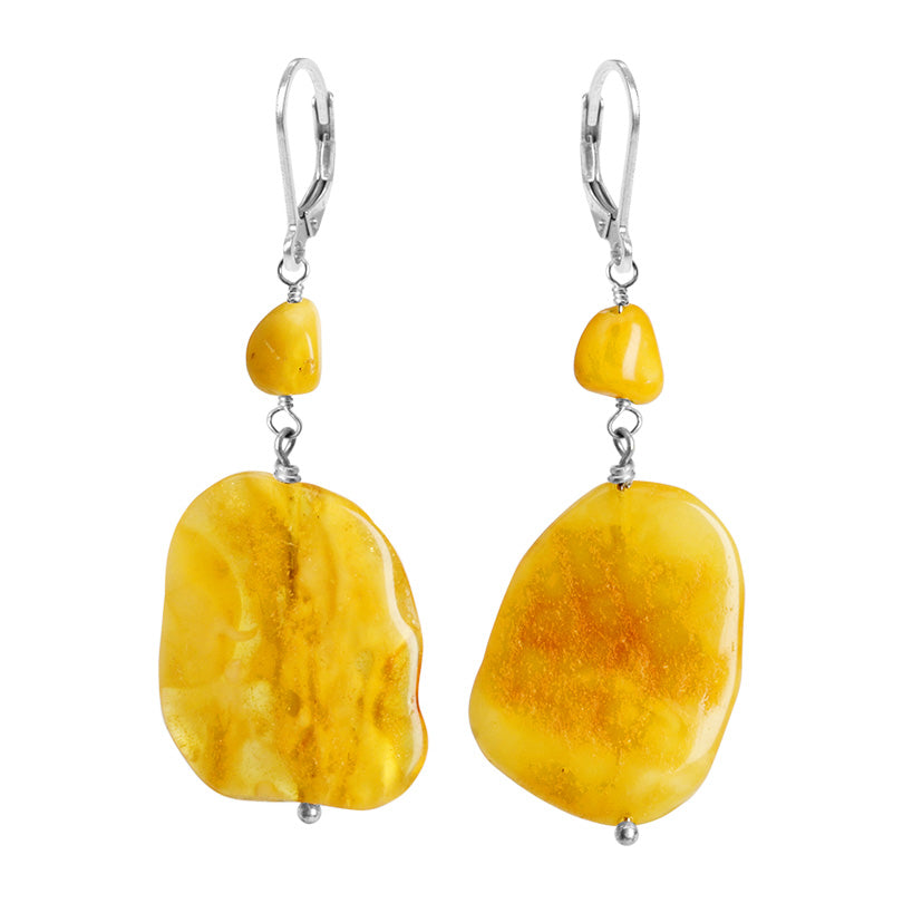 Amazing Golden Butterscotch Baltic Amber Sterling Silver Earrings