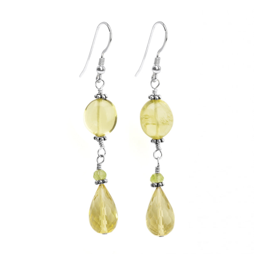 Sterling Silver Faceted Lemon Quartz Drop Earrings