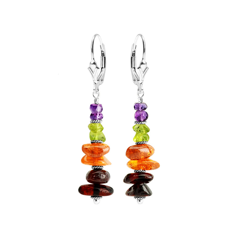 Mixed Colors of Baltic Amber, Amethyst and Peridot Sterling Silver Earrings