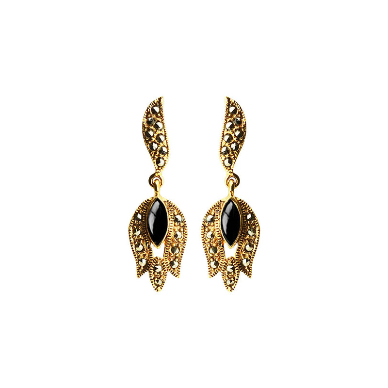 Elegant Petite Onyx with Marcasite 14kt Gold Plated Earrings