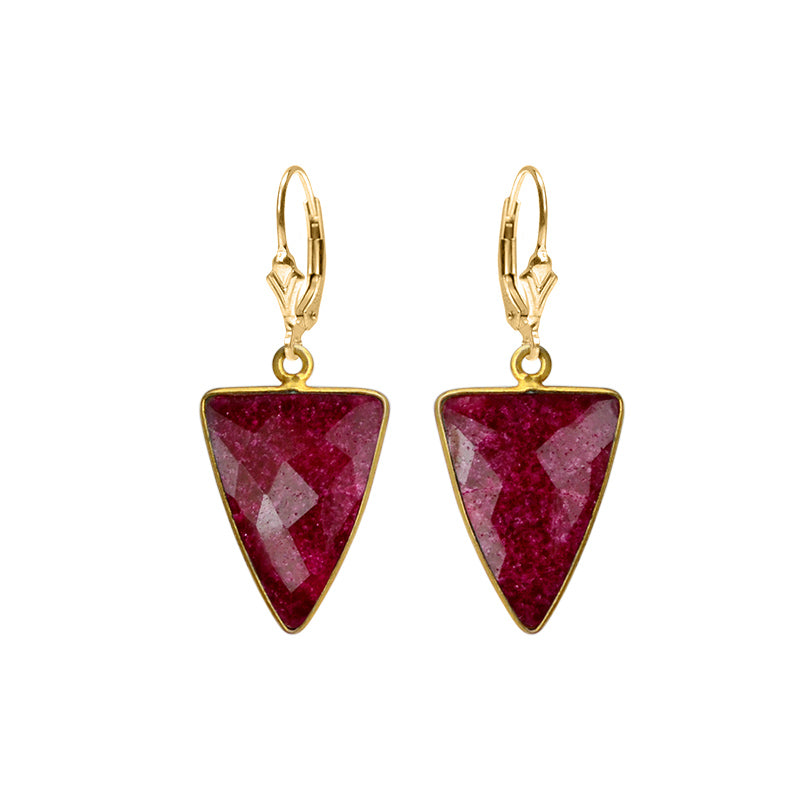 Dramatic Ruby Red Corundum Gold Filled Earrings