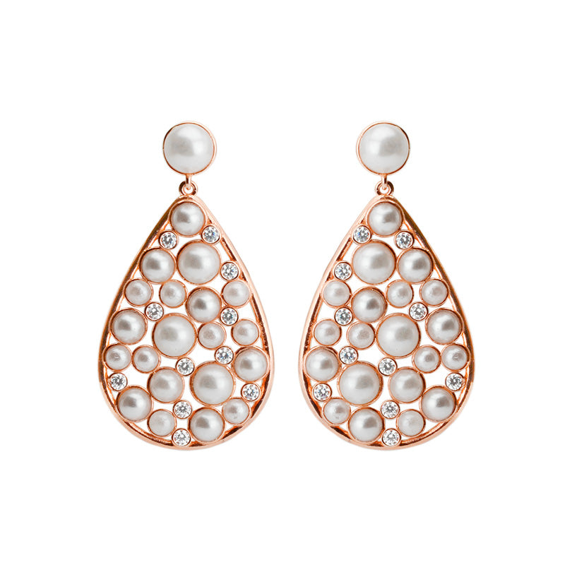 Pearls Galore! Dazzling Crystals set in Rose Gold Plated Sterling Silver Earrings