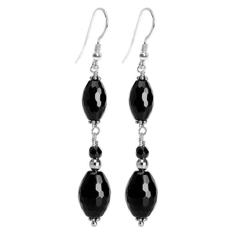 Classy Black Onyx Faceted Marquise Sterling Silver Earrings