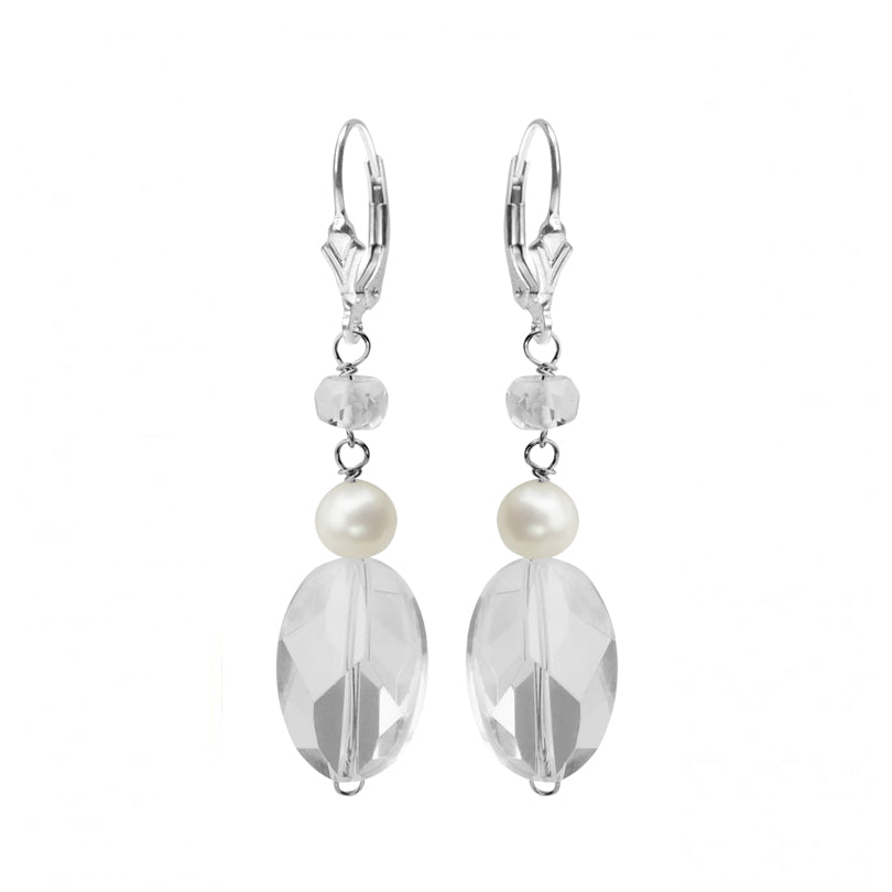 Faceted Quartz and Fresh Water Pearl Sterling Silver Earrings